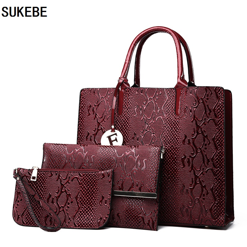 SUKEBE Serpentine Women Composite Bags Leather Handbags Luxury Totes Shoulder Messenger Women Bags 3pcs Set 100% genuine leather women bags luxury serpentine real leather women handbag new fashion messenger shoulder bag female totes 3