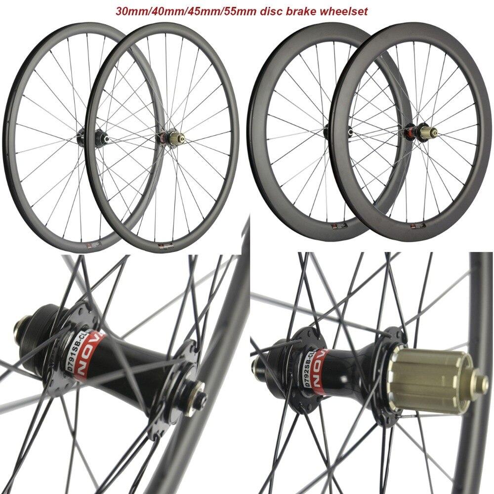 700C Estrada Hubs de Freio A Disco Parafuso 6 55 45 40 30mm mm mm mm de Carbono Clincher Carbono Da Bicicleta Da Bicicleta rodado disco Rodas Cyclocross