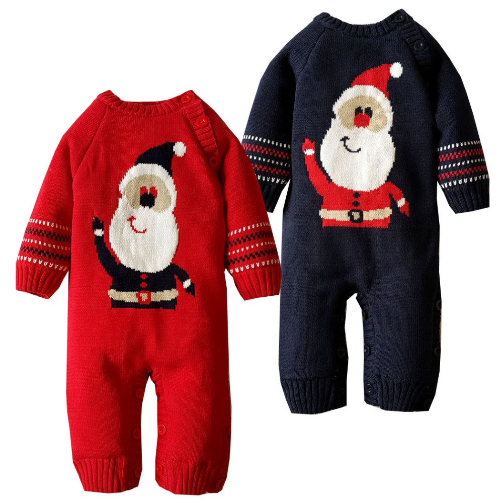 Winter boys girls thick warm cartoon santa claus coral velvet rompers newborn weave jumpers children climbing sweater 17S907