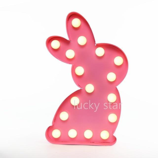 12 polegadas de metal rosa coelho luz LED Sinal Marquise ACENDER a luz da noite quarto de criança Queda De Potência