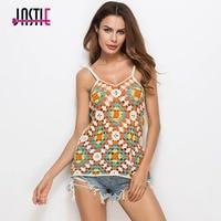 Jastie Beach Bikini Cover Up Top Camis Colorful Hollow Out Crochet Lace Vest V Neck Straps