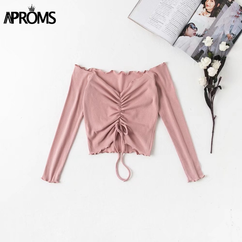 HTB1BTSteL9TBuNjy0Fcq6zeiFXax - Aproms Ribbed Off Shoulder Drawstring Tie T Shirt Women Long Sleeve Short T-shirt Summer Casual Crop Top Female Tee Tshirts