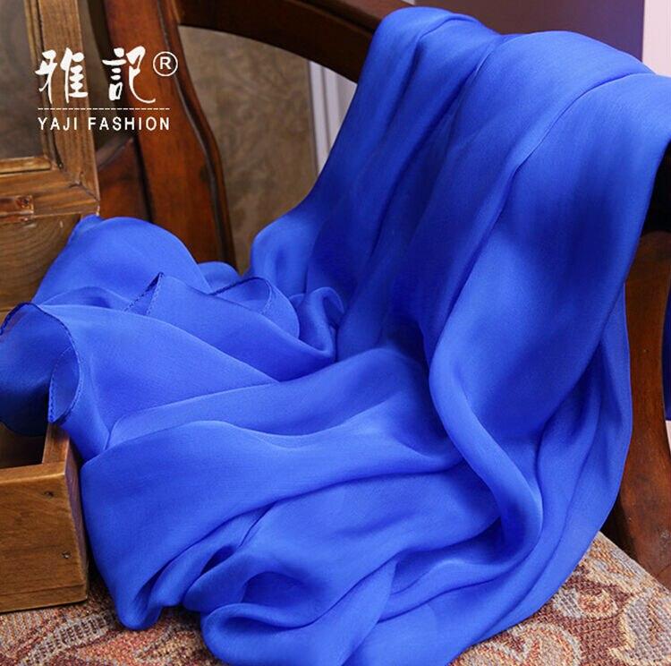 Véritable Soie Femmes Écharpe De Mode Solide Couleur Foulards 2017 Printemps  Été Hiver Haute Qualité Châle 200 65 cm f6a5b5f9bae