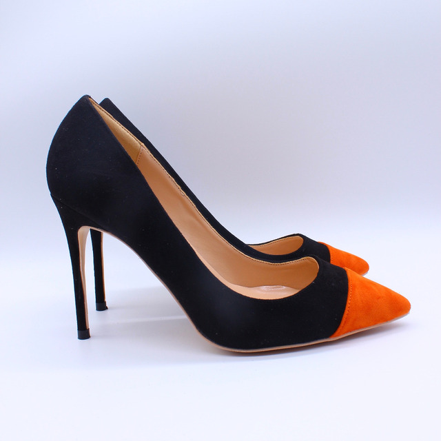 764c51d80d3b Free shipping fashion women Pumps lady Black suede orange Pointy toe high  heels shoes size33-43 12cm 10cm 8cm Stiletto heeled