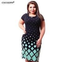 Summer Dress 2016 Fashionable Women Big Size Women Clothing Casual O Neck Plus Size Plaid Office