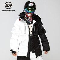 StormRunner męska Kurtka na narty Śnieg biały i czarny szwy śnieg kurtka sportowa kurtka outdoorowa dla chłopców