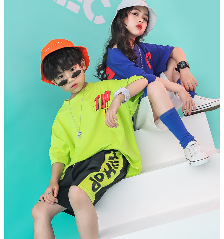 Kid clothes girl Boy set Summer 2019 4 6 8 10 12 14 Years Hip Hop T shirt Pants dance costumes kids boys Girls young clothes (7)