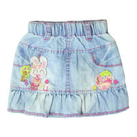 Girl S Embroidery Mini Jeans Skirts Above Knee With Pockets Elastic Waistband For Toddler Kids Girl