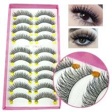 HOT!!!New 10 Pair Crisscross natural False Eyelashes Eyelash Eye cross Lashes Voluminous Makeup
