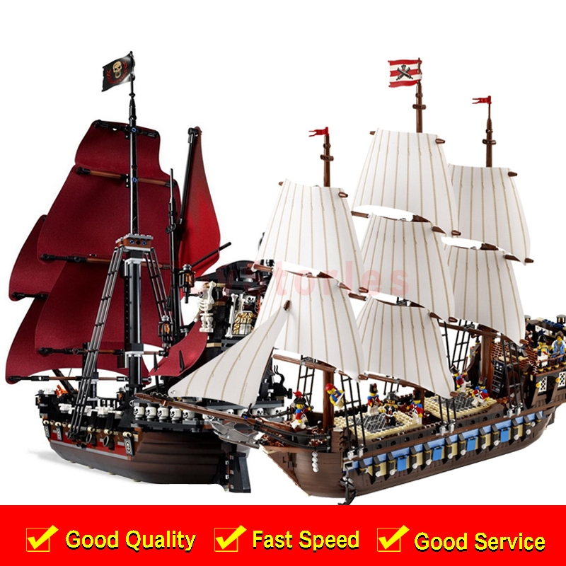 LEPIN 16009 Queen Anne's revenge 22001 Imperial Warships Model Building Blocks children Pirates legoings Toys Clone  4195 10210 lepin 22001 pirates series the imperial war ship model building kits blocks bricks toys gifts for kids 1717pcs compatible 10210