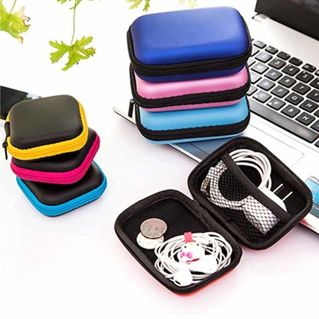 Urijk Square Earphone Wire Organizer Box Data Line Cables Storage Box Travel Container Coin Headphone Protective Box 8cm