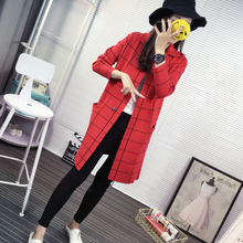 New Spring Autumn Winter Women Turn-down Collar Cardigan Thick Long Single-Breasted Plaid Tartan Pocket Sweater Coat Overcoat