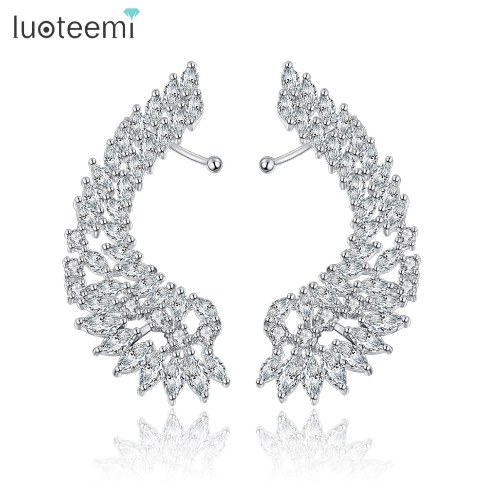 LUOTEEMI Korea Style Shining Crystal Big Angel Wings Drop Earrings Bijoux Femme Brincos Jewelry for Women Wedding Party Jewelry