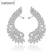 LUOTEEMI Korea Style Shining Crystal Big Angel Wings Drop Earrings Bijoux Femme Brincos Jewelry for Women Wedding Party Jewelry