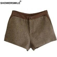 SHOWERSMILE Patchwork Vintage Shorts Women Tweed Slim Fit Herringbone Womens England Style Female Short Pants