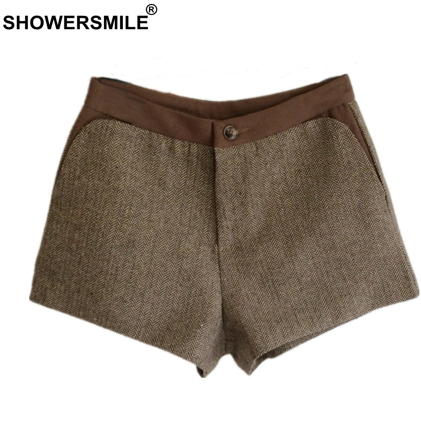 SHOWERSMILE Patchwork Vintage   Shorts   Women Tweed Slim Fit Herringbone Women's   Shorts   England Style Female   Short   Pants