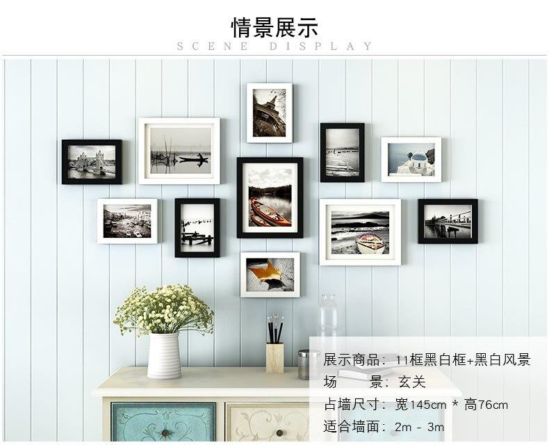 11 unids/set Simple negro/blanco recuadro estilo marco de madera de ...