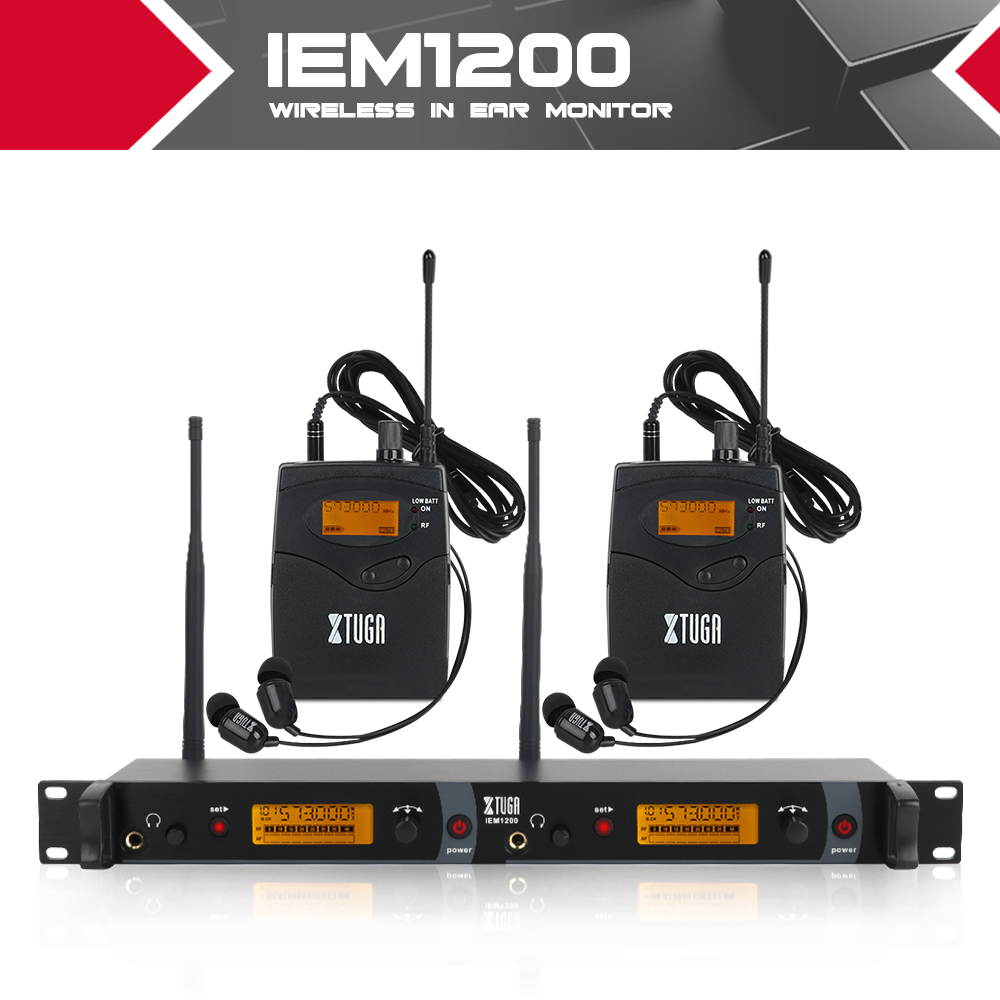 XTUGA IEM1200 wireless In Ear Monitor System 2 Channel 2 Bodypack Monitoring with in earphone wireless