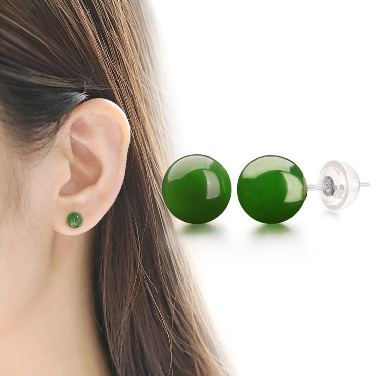 2019 Hot Sale Earings Fashion Jewelry 8 Mm Jasper Beads Ears Refill Natural Jade With Certificate S925 Pure Hetian Wholesale