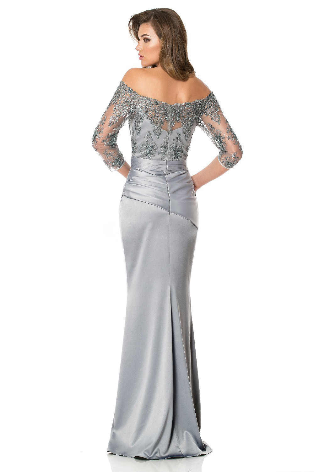 2017 Long Sleeves Gorgeous Sequins Bead Off Shoulder Mother Of The Bride Dresses Lace Floor Length Grey Evening Dress In