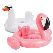 Gratis frakt Sommar Baby Flamingo Swimming Ring Inflatable Swan Swimming Float Vatten Fun Pool Leksaker Bad Ryggsats Båt Barn