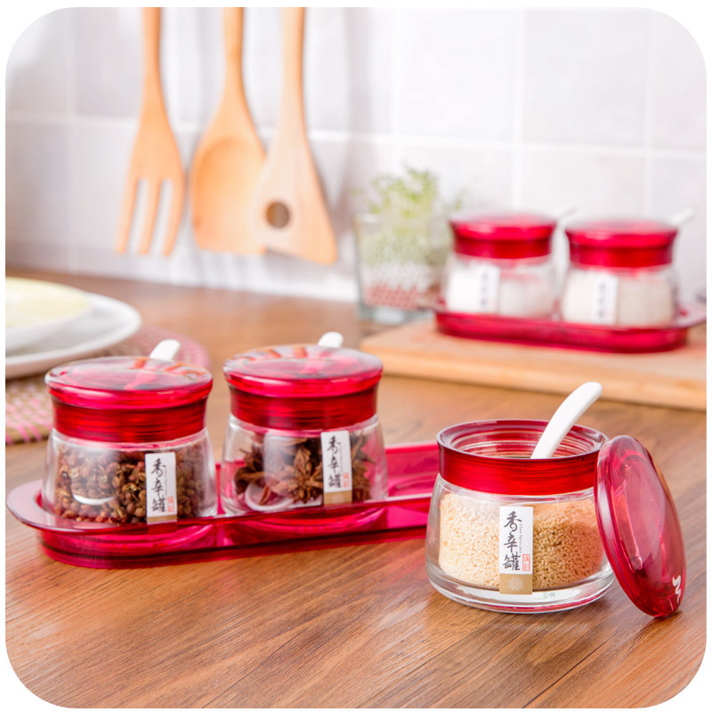 Glass Spice Jar With A Tray Spoon Suit, Kitchen Supplies Sugar And Salt Jar  Seasoning Box In Storage Bottles U0026 Jars From Home U0026 Garden On  Aliexpress.com ...