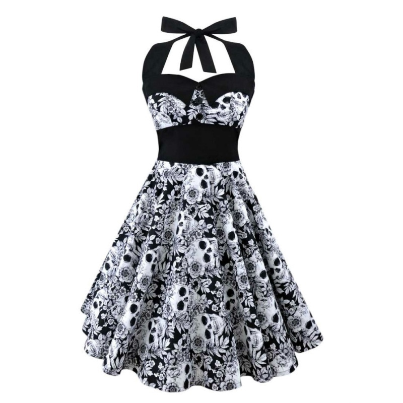 Summer New S-5XL Large Size Printed Dress Women Punk Strapless Halter Party Dresses Bowknot Self Gothic Vestidos Clothing Swing 1