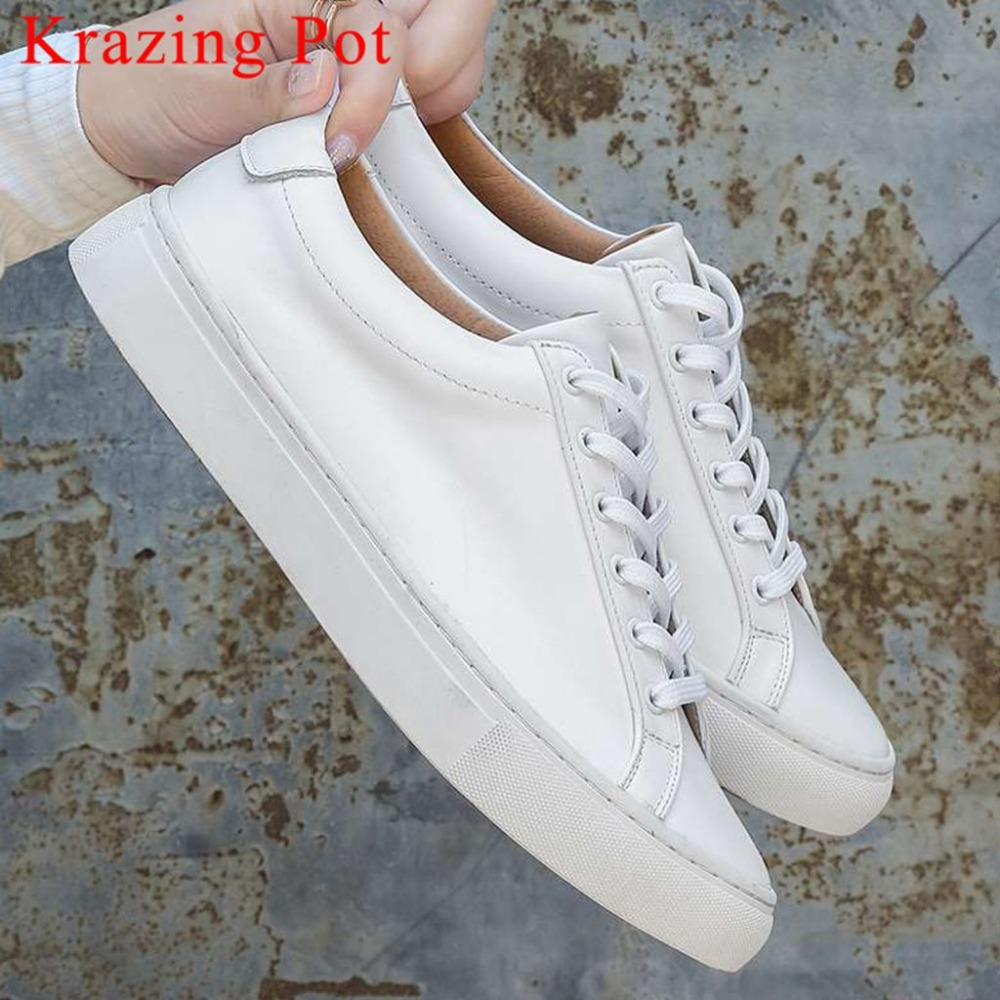 Krazing Pot Breathable Loafers Genuine Leather Low Bottom Round Toe Lace Up Solid Vintage Sneakers Shallow Vulcanized Shoes L1f8