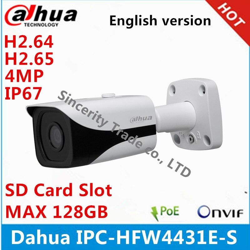 imágenes para Original dahua inglés versión ipc-hfw4431e-s con ranura para tarjeta sd h2.65 4mp ip67 ir40m bala del ip del poe cámara reemplazar ipc-hfw4421e
