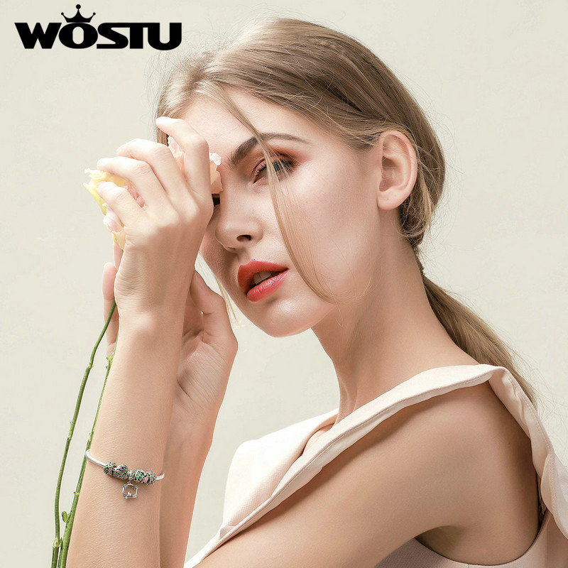 WOSTU Top Vente 925 Sterling Argent Printemps Fleurs, feuilles et Oiseau Charme Bracelet Pour Les Femmes Marque De Mode Perle Bijoux Cadeau CQB804 - 4