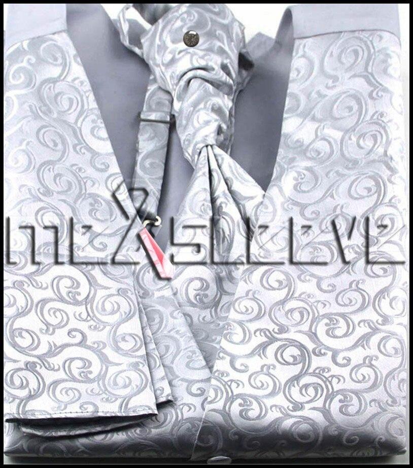 new arrive formal wear silver swirl waistcoat vest ascot tie cufflinks handkerchief