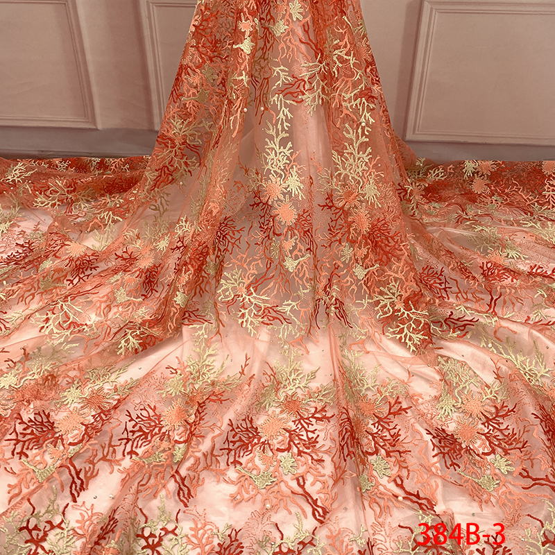 African Tulle Lace Fabric High Quality, 2019 Nigerian Lace Fabrics, Embroidered Fabric Laces With Rhinestones Beads KS384B-3