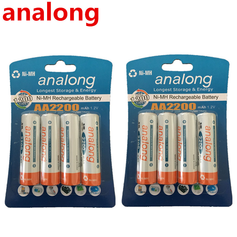 Analong Low Self-discharge Durable AA Battery 1.2V 2200mAh Ni-MH Rechargeable Batteries 1.2V  Batteries