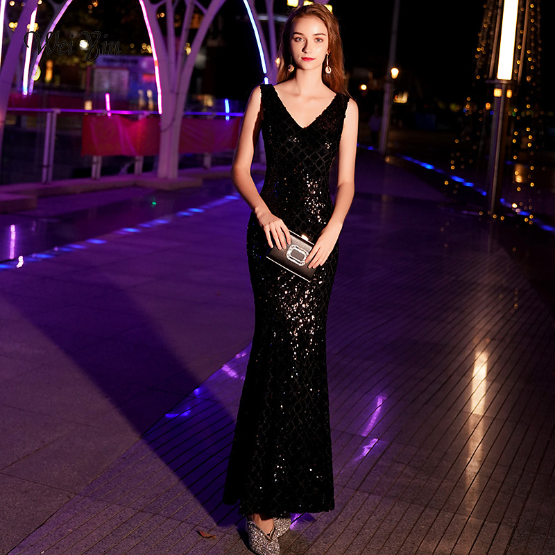 weiyin Mermaid Sequined   Evening     Dress   Sleeveless Full Length Vintage Mother Of The Bride   Dresses   2019 Vestido De Festa WY1078