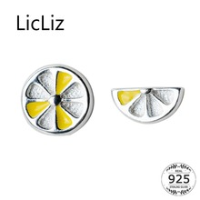 LicLiz 2019 New 925 Sterling Silver Yellow Lemon Stud Earrings for Women Cute Half Peice of Fruit White Gold Jewelry LE0552
