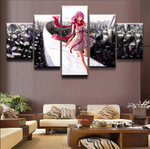 Anime Guilty Crown Inori Yuzuriha Warrior Painting Wall Art Canvas 5 Piece HD Print Wall Art Canvas Art For Living Room Decor anime guilty crown backpack cosplay yuzuriha inori shu ouma canvas bag schoolbag travel bags