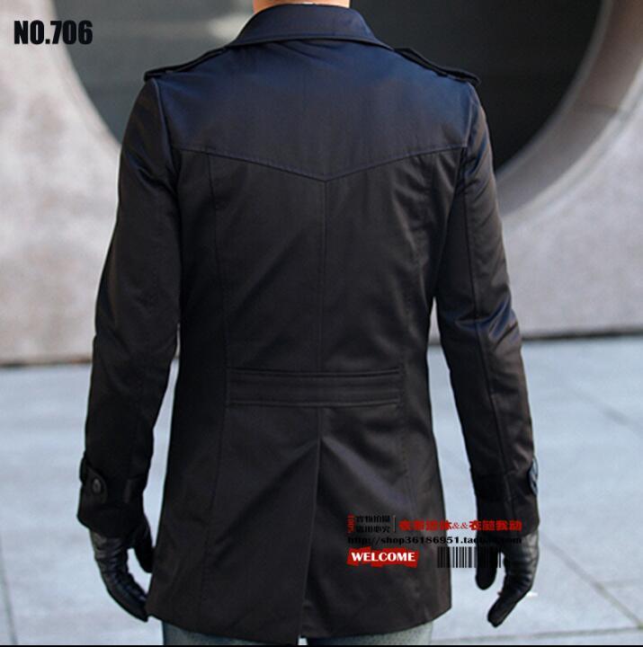 Модный тонкий сексуальный длинный плащ Мужское пальто с длинным рукавом мужская одежда двубортная Верхняя одежда casaco Весна 2019 черный - 3