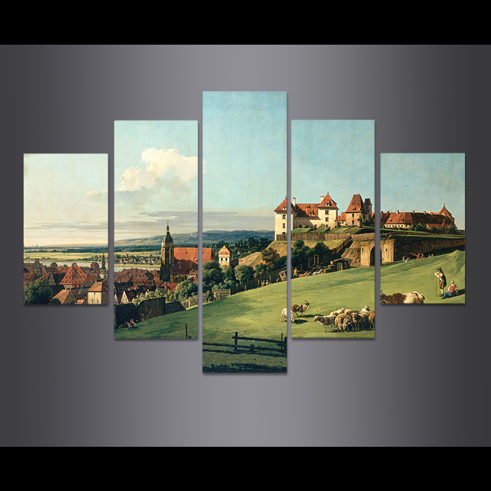 Unframed 5 HD Canvas Modular Picture European Rural Town Landscape Prints Wall Pictures For Living Room Wall Art Decoration