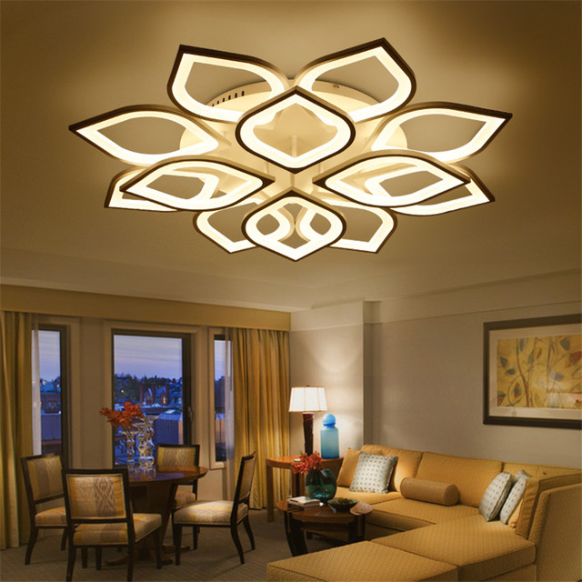 modern luxury living room led ceiling lamp creative lustre lotus led ceiling lights intelligent dimming led - Living Room Led Ceiling Lights