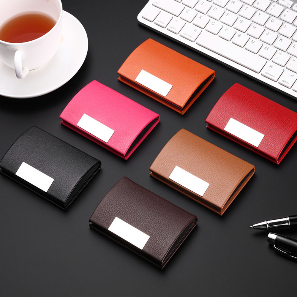Women Men Personalized Leatherette Stainless Steel Business Card Case Magnetic Business Card Holder Attractive Card Box