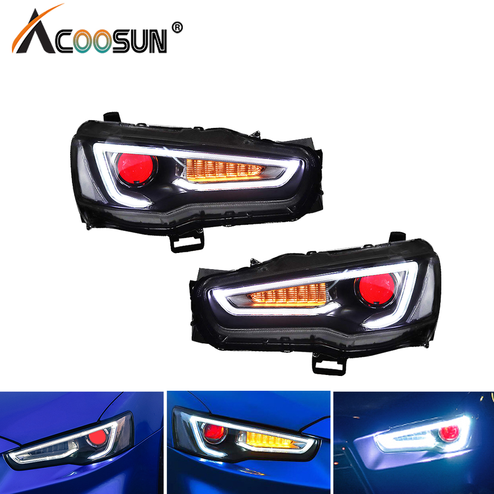 AcooSun For Mitsubishi Lancer EVO X 2008 2017 Car Headlight Assembly LED DRL Turn Signal Xenon