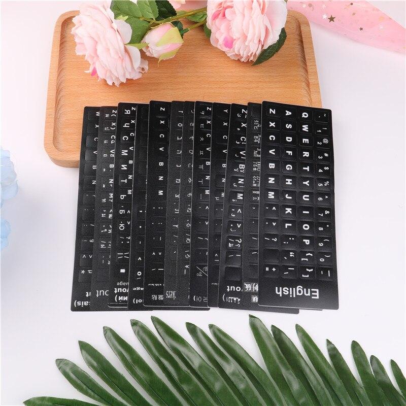 Colto 1 Pz Impermeabile 12 Stili Lingua Della Tastiera Adesivi Di Layout Con Il Tasto Lettere Di Alfabeto Per La Tastiera Del Computer