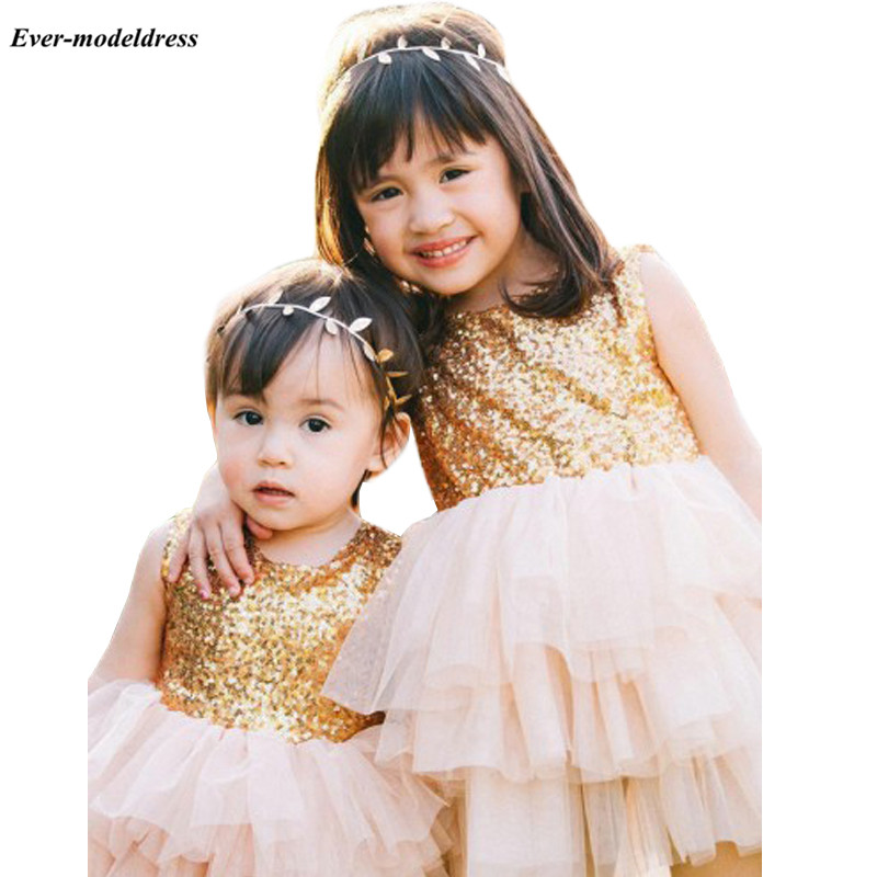 Lovely Sequins Tulle Short   Flower     Girls     Dresses   With Bows At Back Tiered Kids Birthday Party Gowns vestido flores