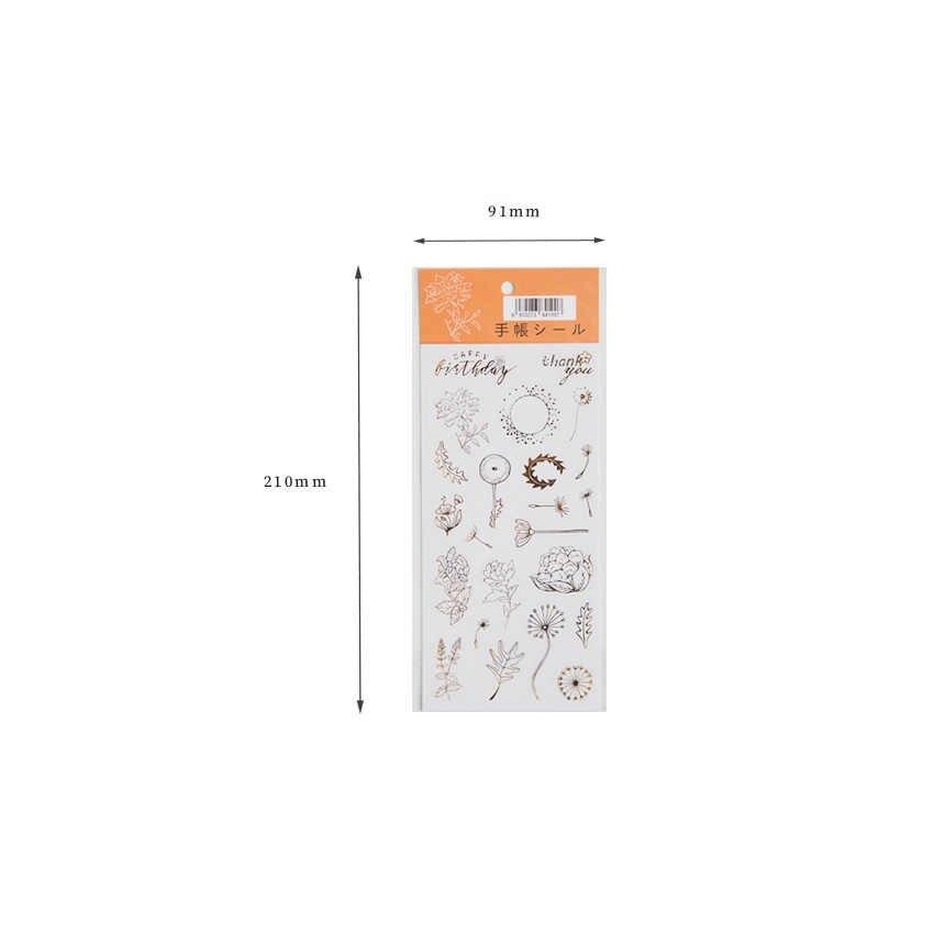 1 unids/pack Kawaii Scrapbooking planta matasellos carta serie bronce seis selecciones pegatinas decorativas