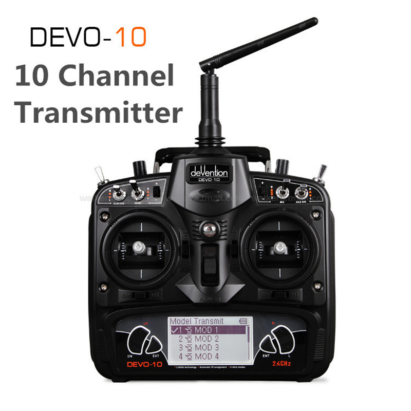 Original Walkera Black DEVO 10 2.4G Transmitter 10CH RX1002 Receiver Telemetry RC Transmitter for RC Multicopter VS flysky коллектор gf 3 4 внутр г х 2 отвода 1 2 нар ш х 3 4 нар ш регулируемый