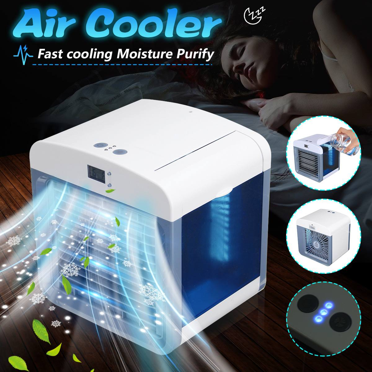 USB Portable Mini Air Cooler Cool Cooling Fan Purify Humidifier W/ Time Display White 16.5x13.5x16.5cm Low Energy ConsumptionUSB Portable Mini Air Cooler Cool Cooling Fan Purify Humidifier W/ Time Display White 16.5x13.5x16.5cm Low Energy Consumption