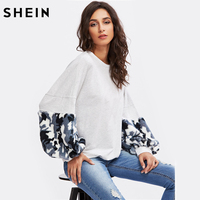 SHEIN Color Block Camo Faux Fur Panel Exaggerate Lantern Sleeve Pullovers Sweatshirt Grey Long Sleeve Womens