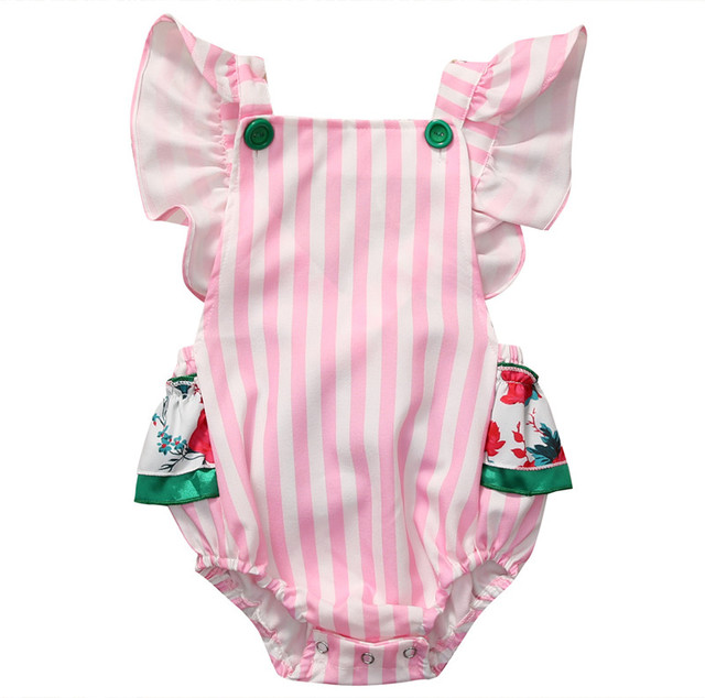 48025296cde80 Nouveau-né bébé fille body rayé Floral été volants manches vêtements dos nu  licou Sunsuit