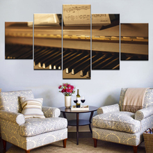 Posters Wall Art Modern Modular Canvas HD Prints Music Pictures 5 Pieces Piano Keys Paintings Framework Living Room Home Decor