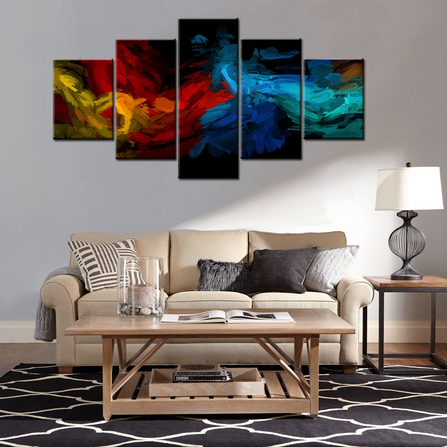5 pieces colorful art abstract design cool artwork decor for office home modular high quality canvas painting wall art best gift in painting calligraphy